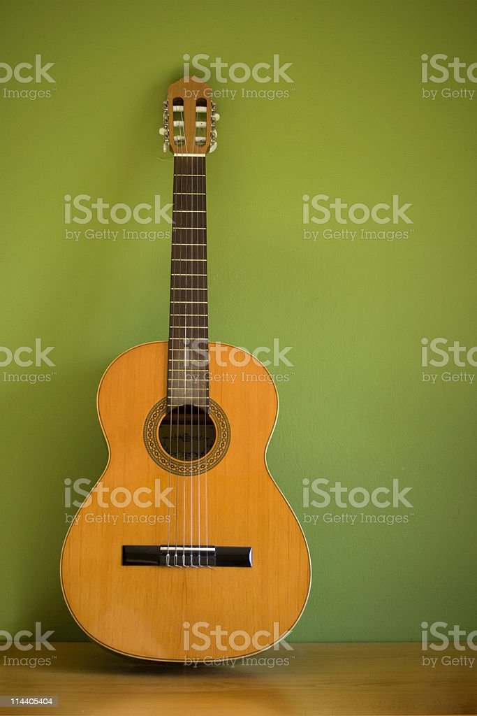 Classical Guitar on Green stock photo