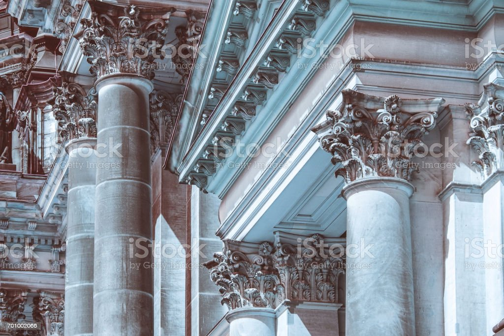 Classical historic building details,  coloums, pillars, capitals stock photo