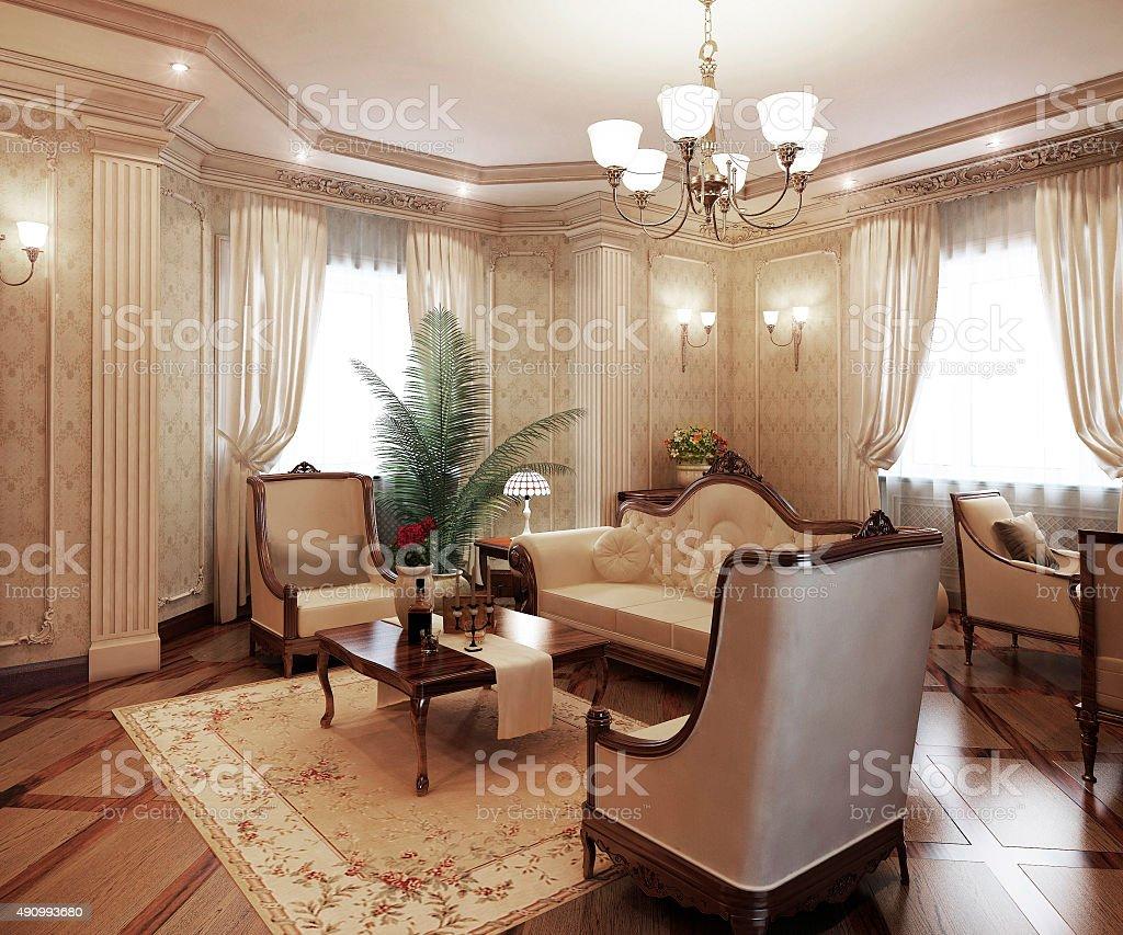 Classical interior living room stock photo