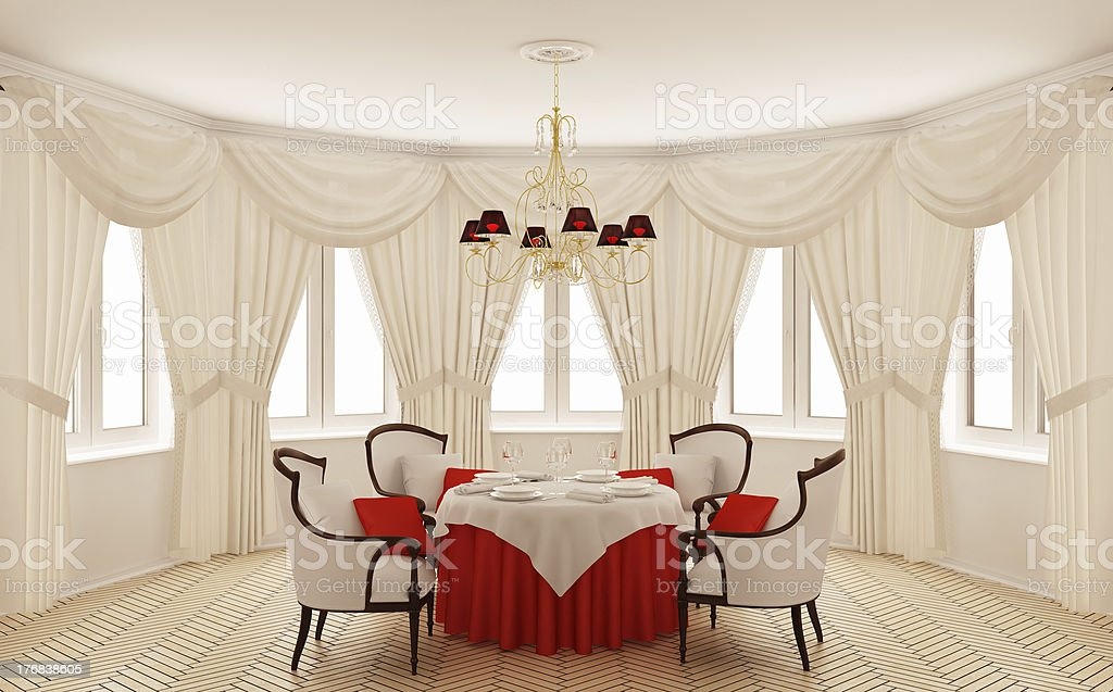 Classical interior of a dining room stock photo