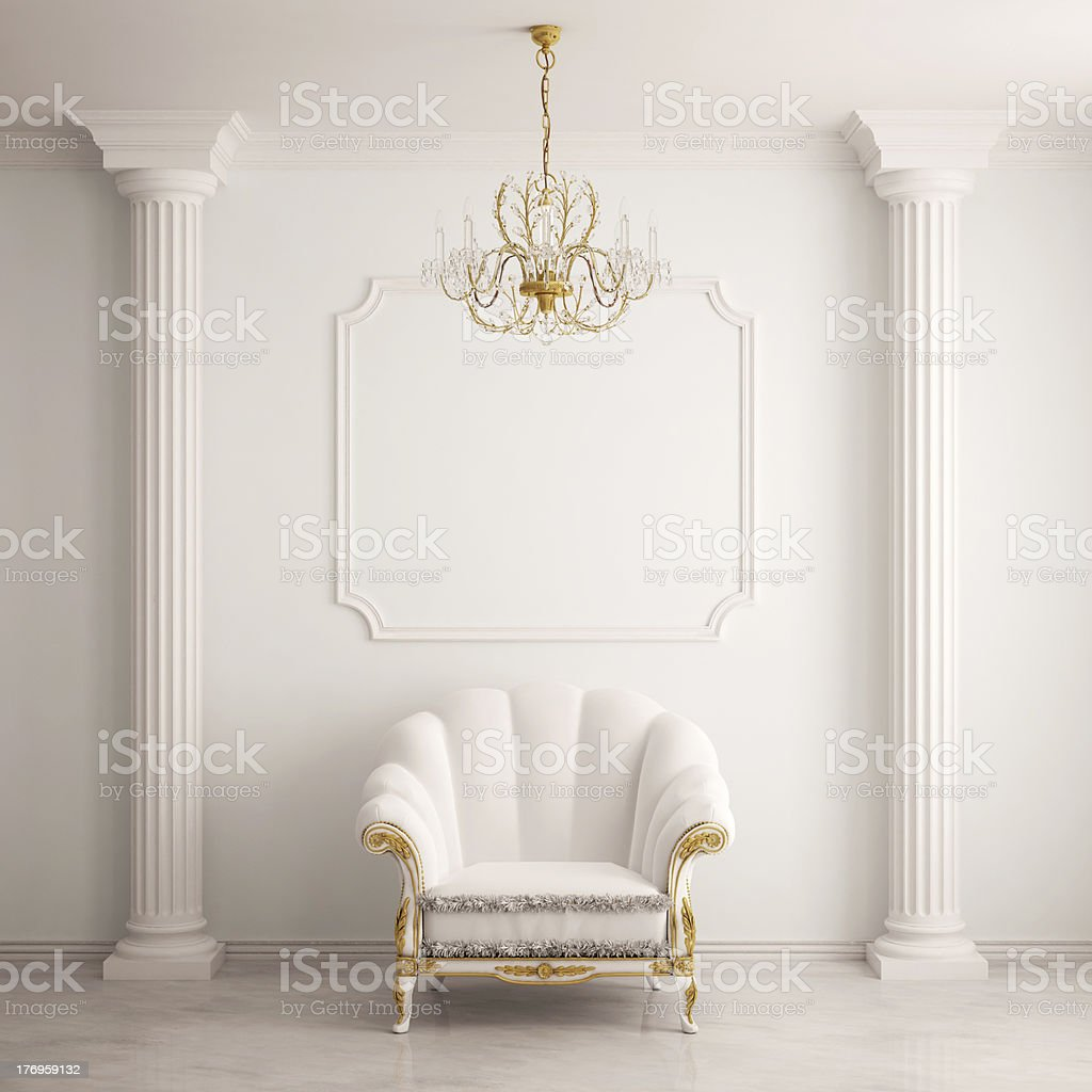 Classical interior with an armchair stock photo