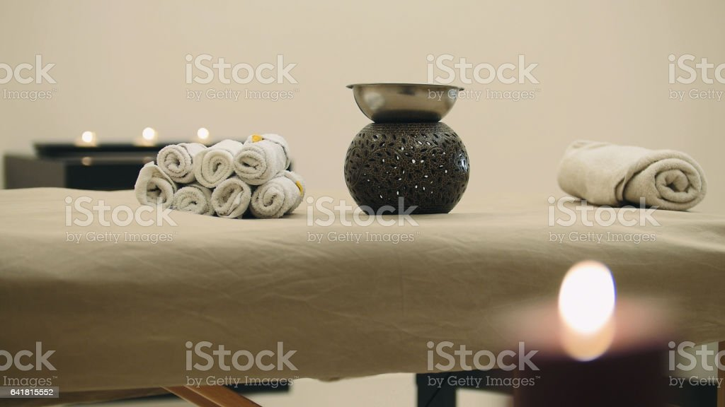 Classical massage table - place for relaxation stock photo