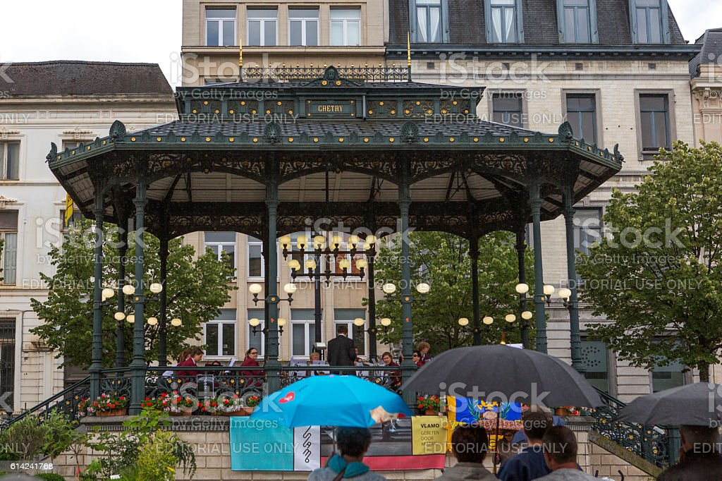 classical music concert at flower market in ghent belgium stock photo