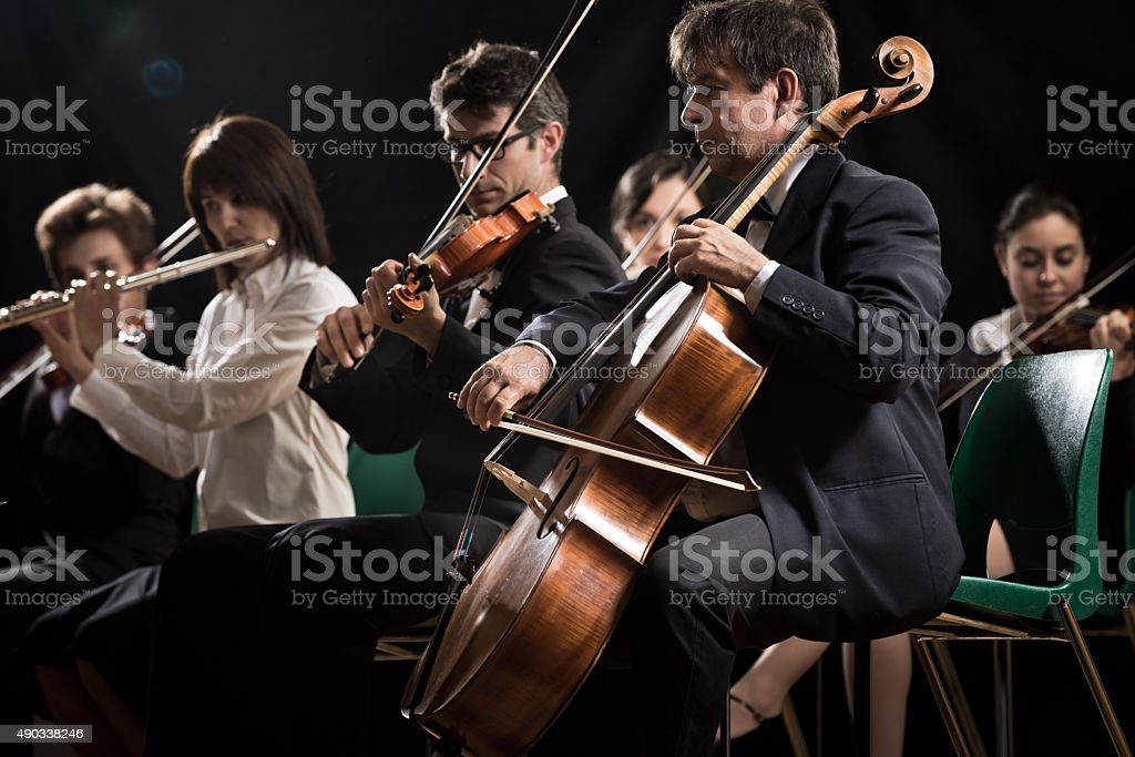 Classical music concert: symphony orchestra on stage stock photo