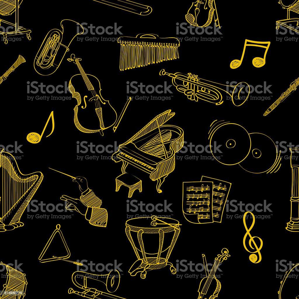 classical music stuff seamless pattern stock photo