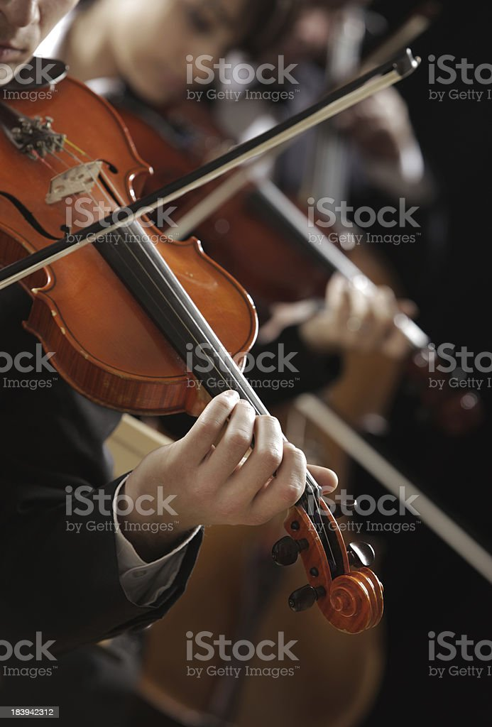 Classical music. Violinists in concert stock photo