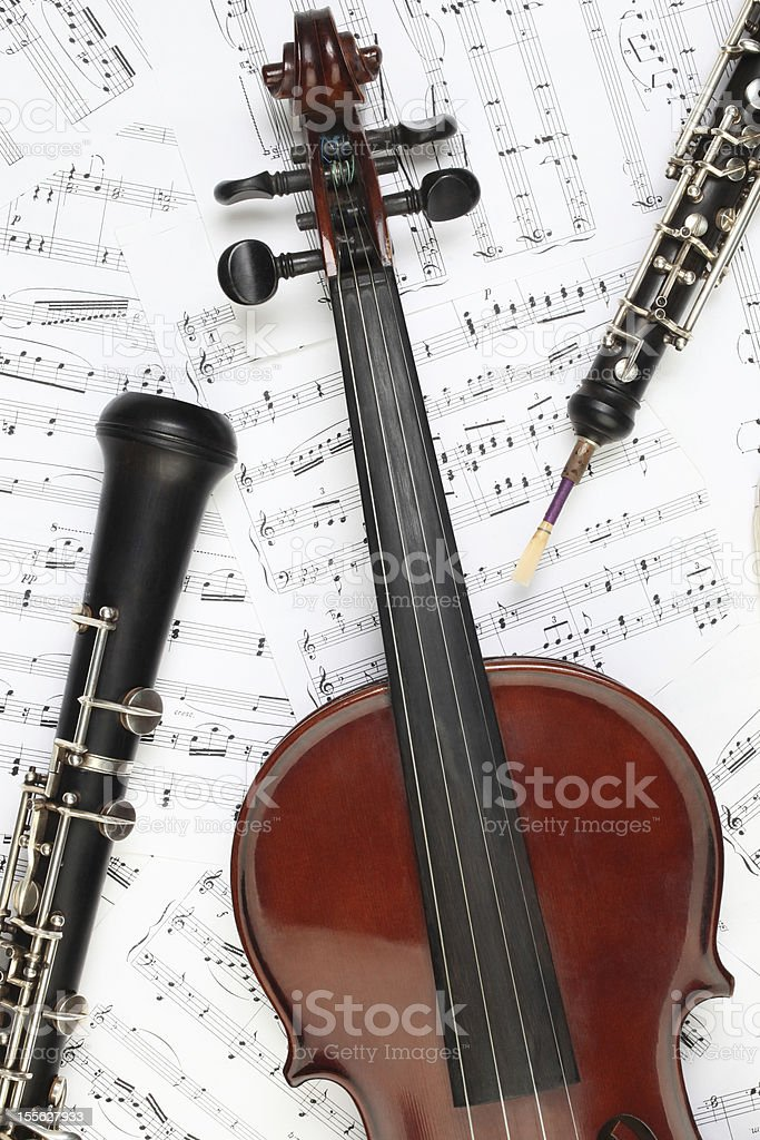 Classical musical instruments music sheet. stock photo