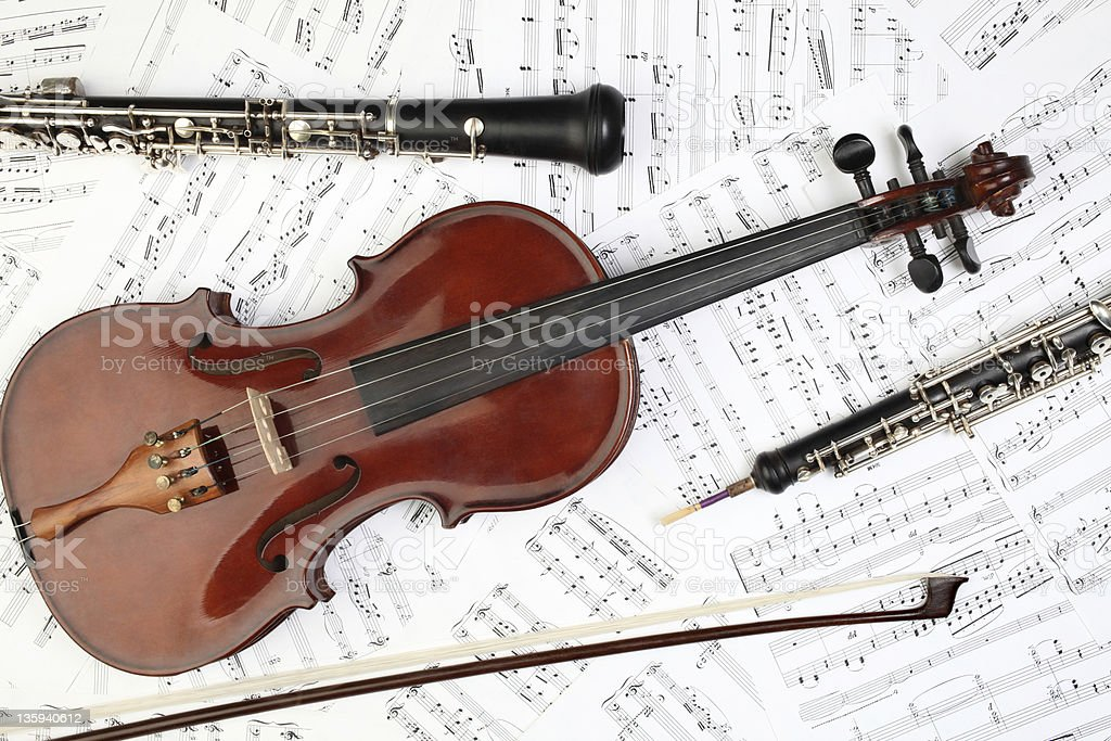 Classical musical instruments notes stock photo