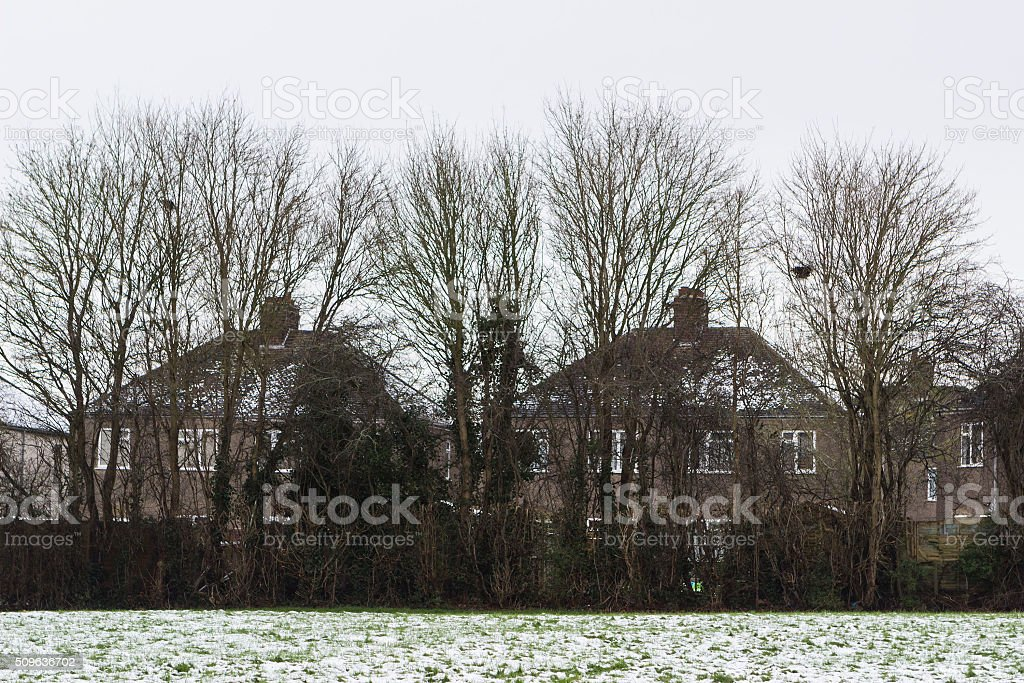 Classical overcast scenery of countryside in England stock photo