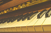 Classical piano keys , vintage style