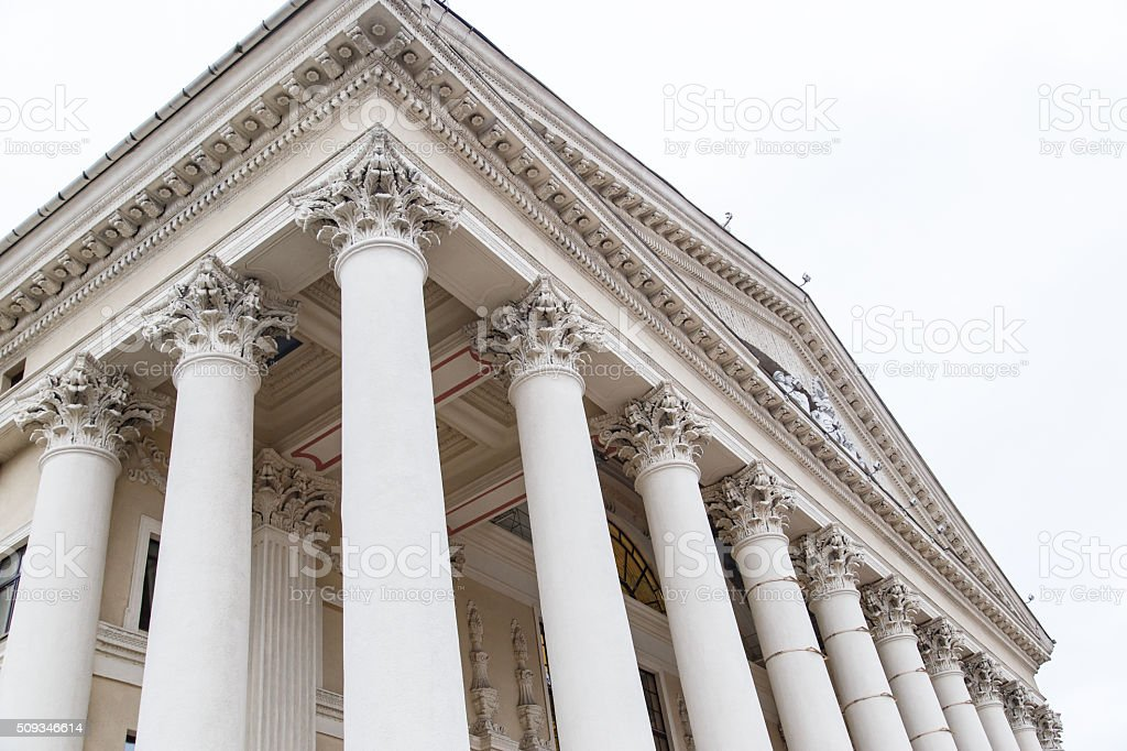 Classical pillar with portico detail stock photo