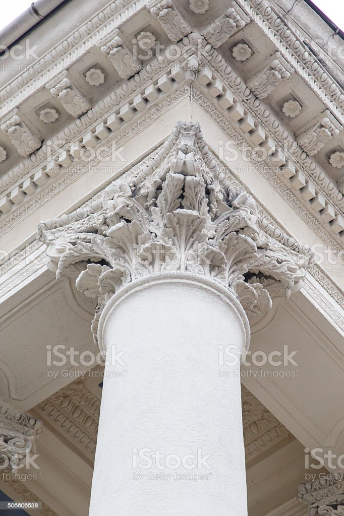 Classical pillars with portico detail stock photo