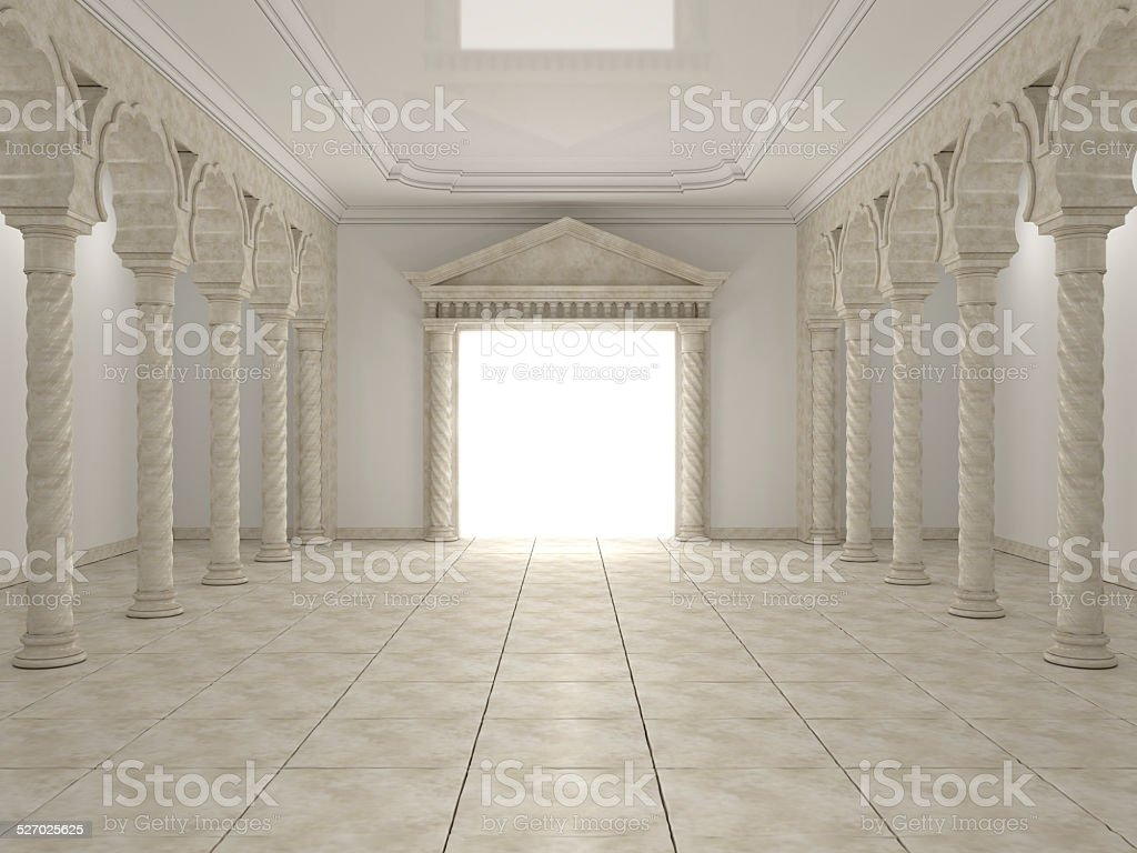 Classical portal in the hall with columns and arches stock photo