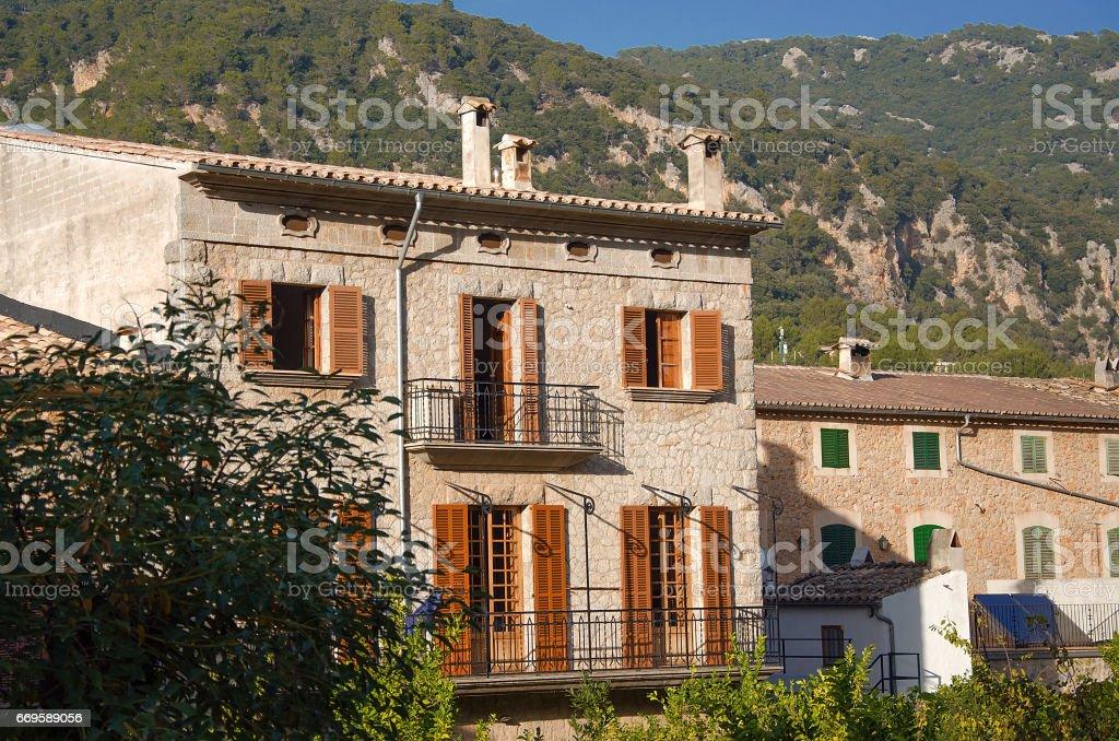 Classical spanish villa, mediterranean house exterior, traditional architecture stock photo