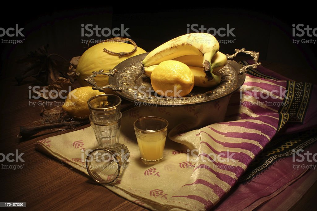Classical still life with yellow fruit royalty-free stock photo