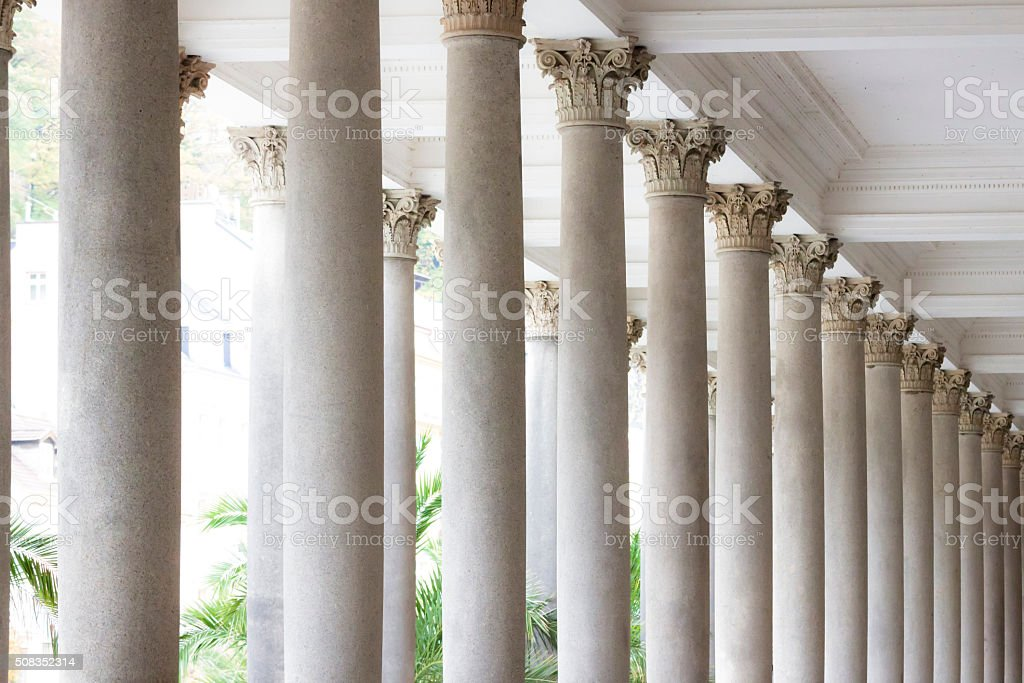 Classical style columns, top part with ceiling stock photo