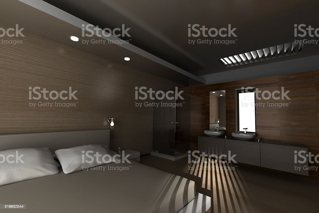 Classical style hotel room with bathroom stock photo