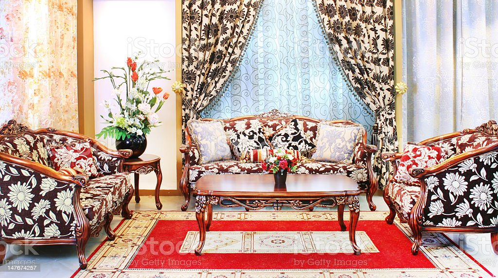 classical stylish armchairs sitting room royalty-free stock photo