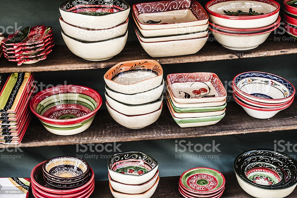 Classical Turkish ceramics on the market royalty-free stock photo