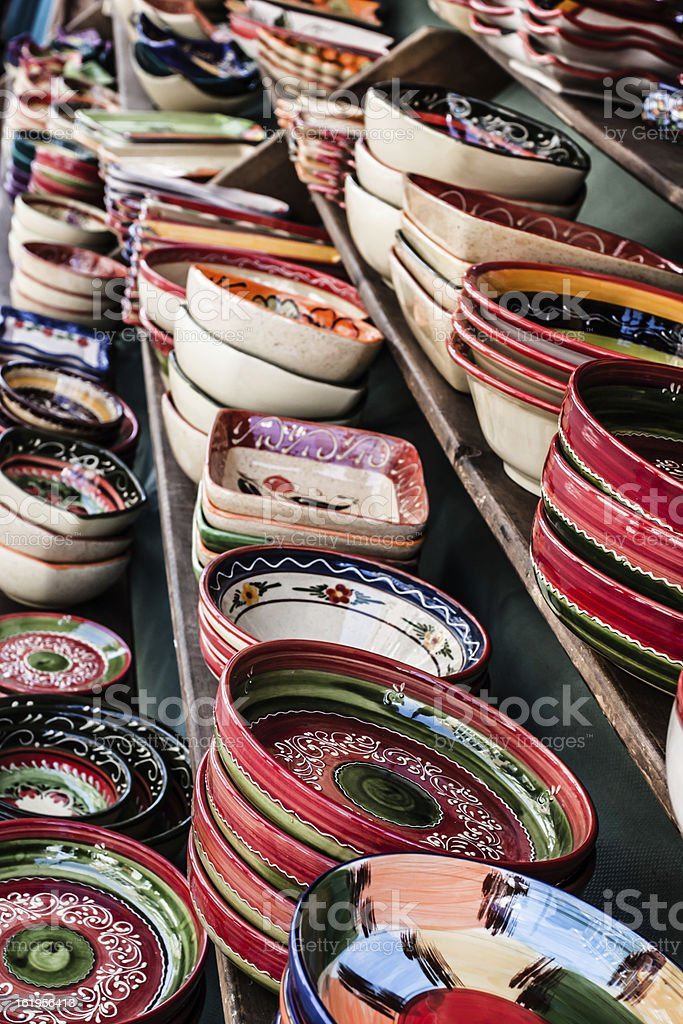 Classical Turkish ceramics on the market royalty-free stock photo