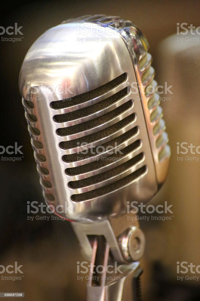 Classical vintage studio microphone stock photo