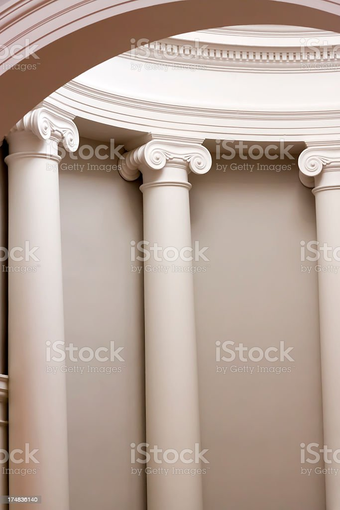 Classical white Columns inside of dome royalty-free stock photo