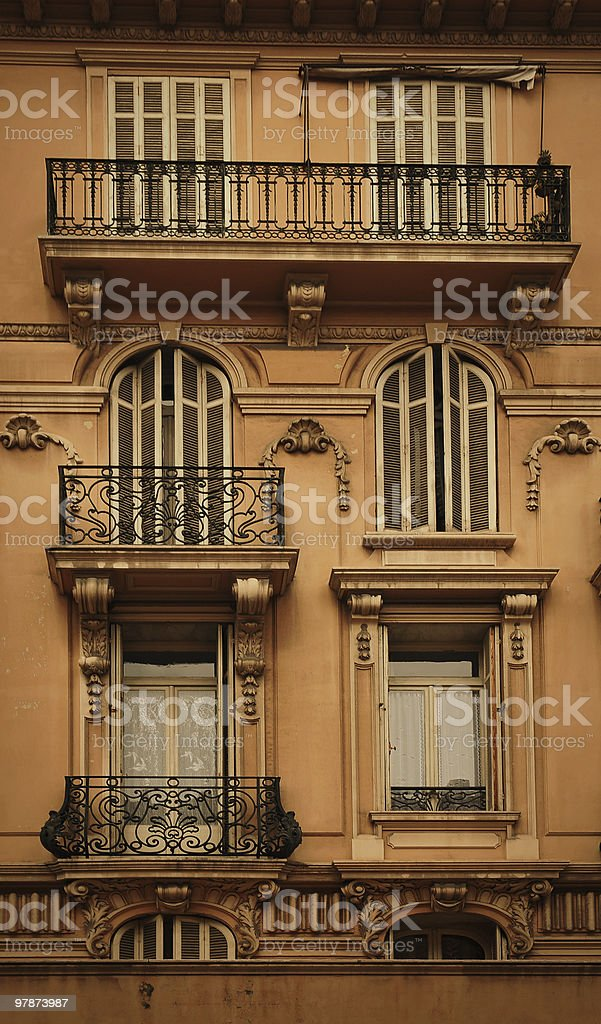 classical windows facade in Monte Carlo royalty-free stock photo