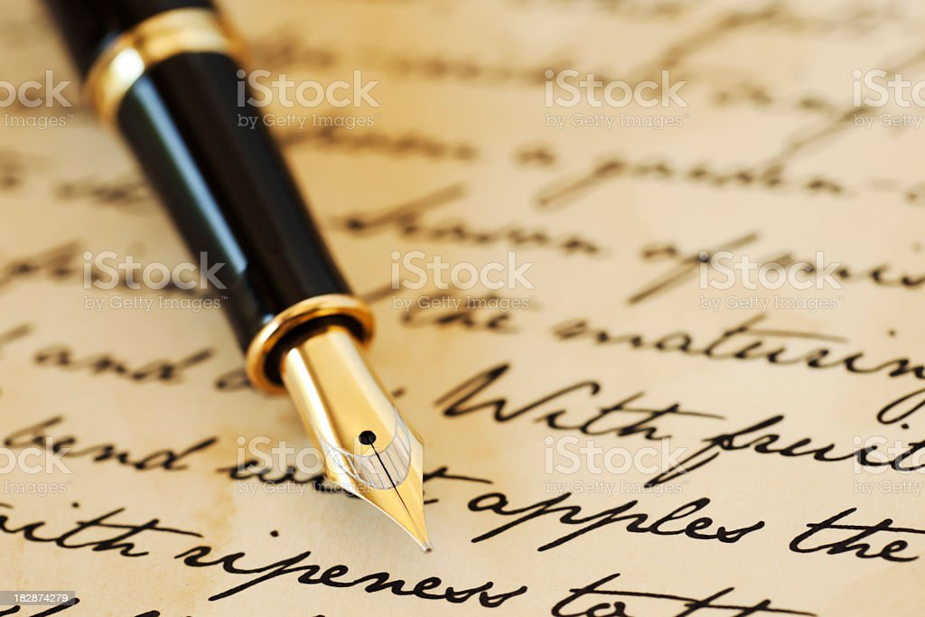 Classical writing stock photo