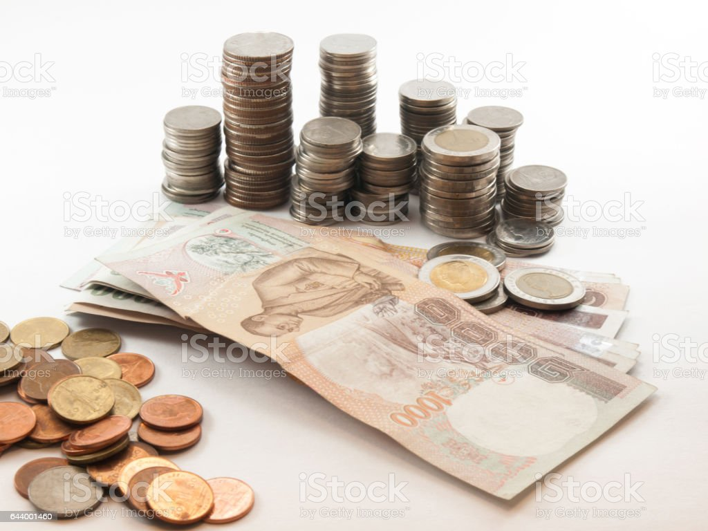 Classification of currency(Bath) stock photo