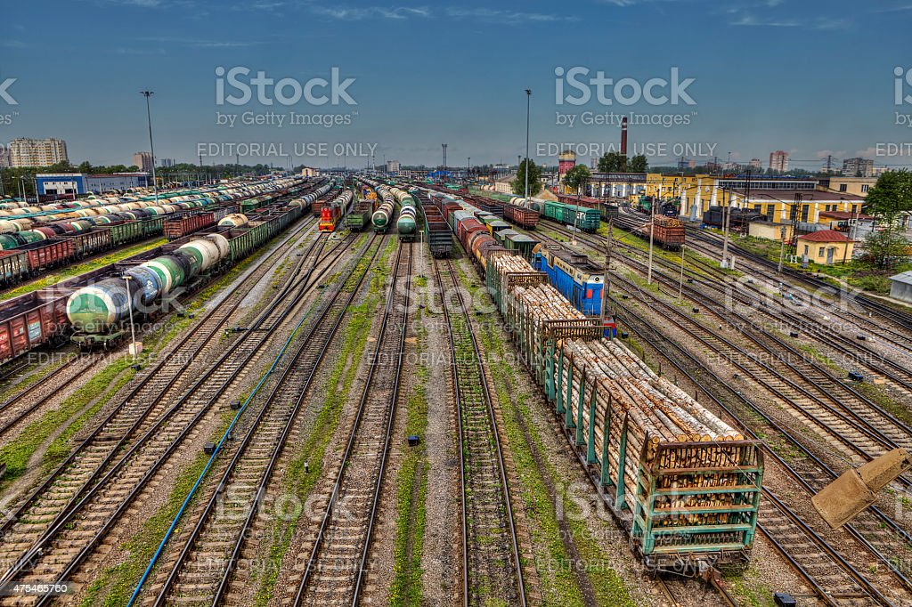 Classification yard, freight train ready for departure, Saint Petersburg, Russia. stock photo