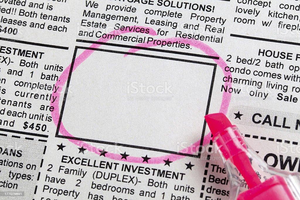 Classified Ad stock photo