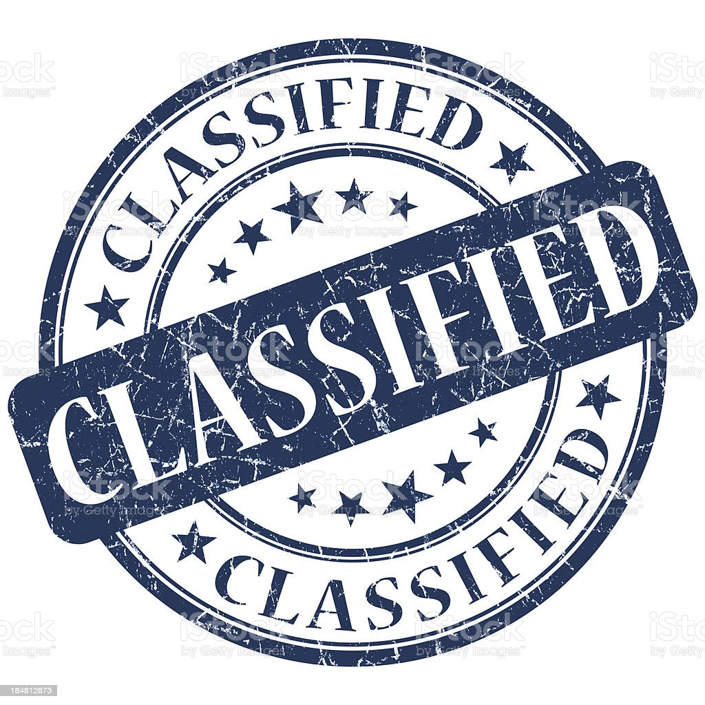 classified blue round stamp stock photo