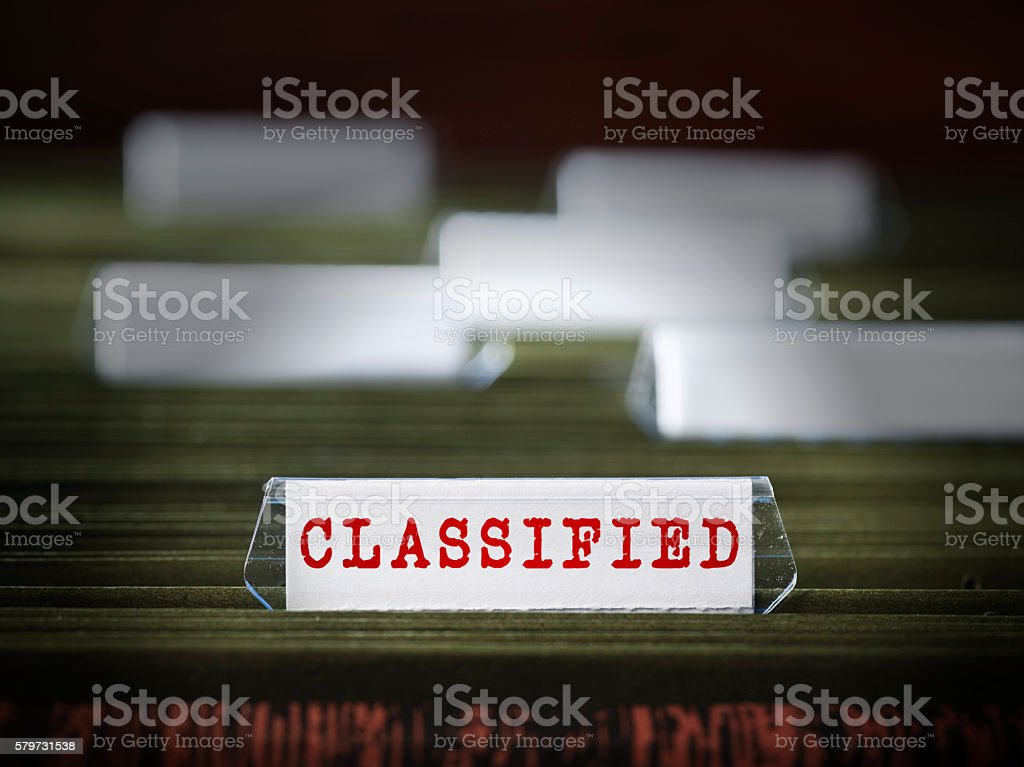 Classified file folder stock photo
