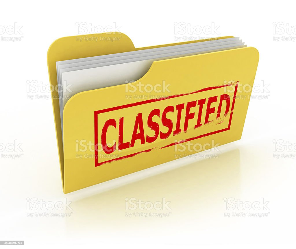 classified folder icon over the white stock photo