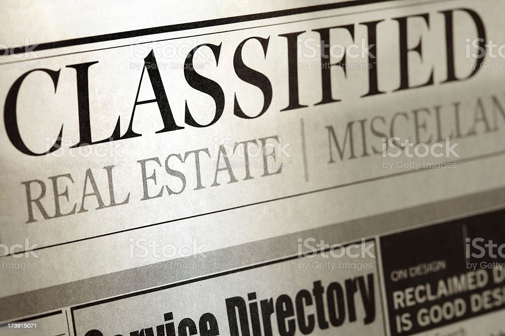 classified newspaper close up royalty-free stock photo
