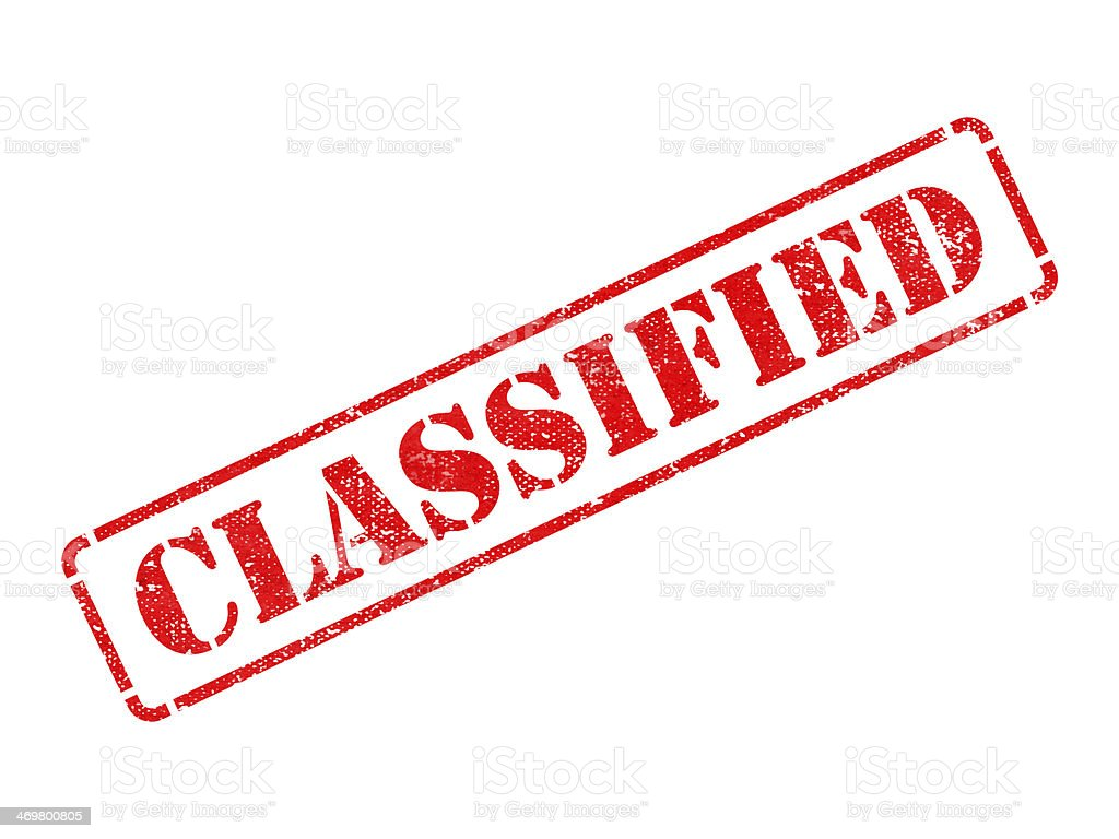 Classified -  Red Rubber Stamp. stock photo