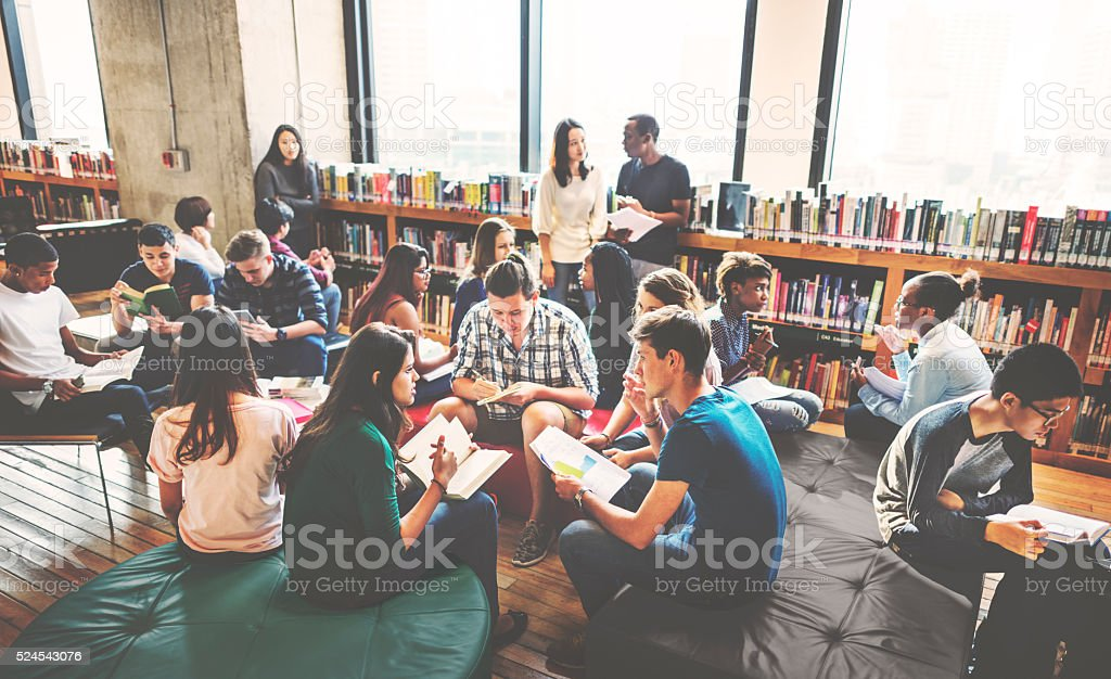 Classmate Classroom Sharing International Friend Concept stock photo