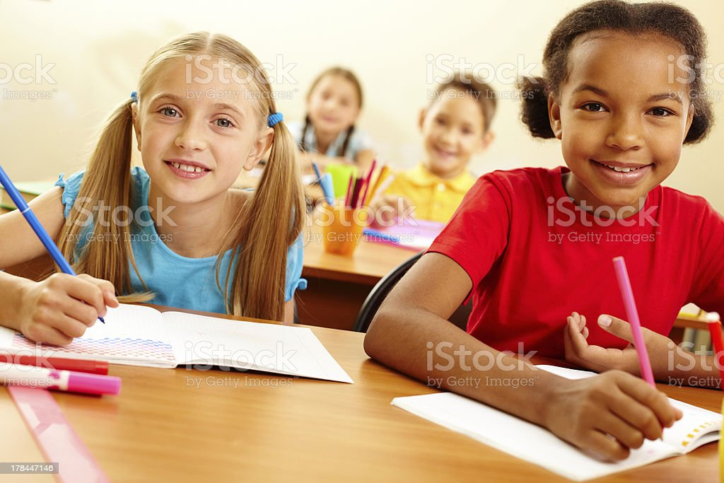 Classmates at lesson royalty-free stock photo