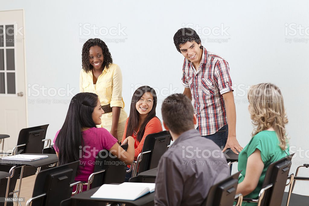 Classmates hanging out stock photo