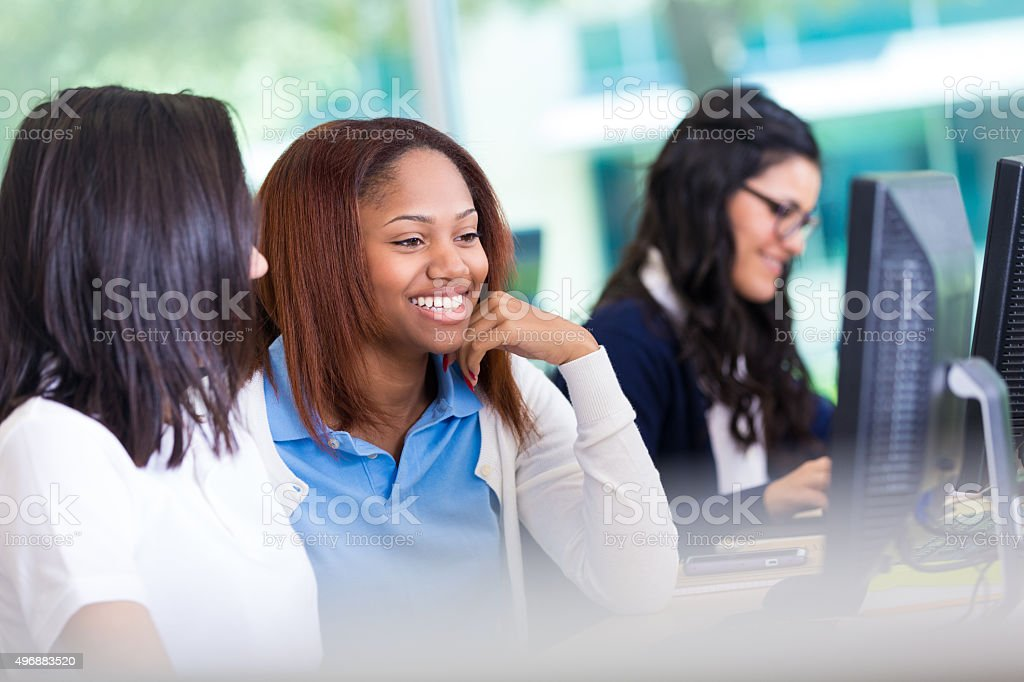 Classmates in private high school working in computer lab. stock photo