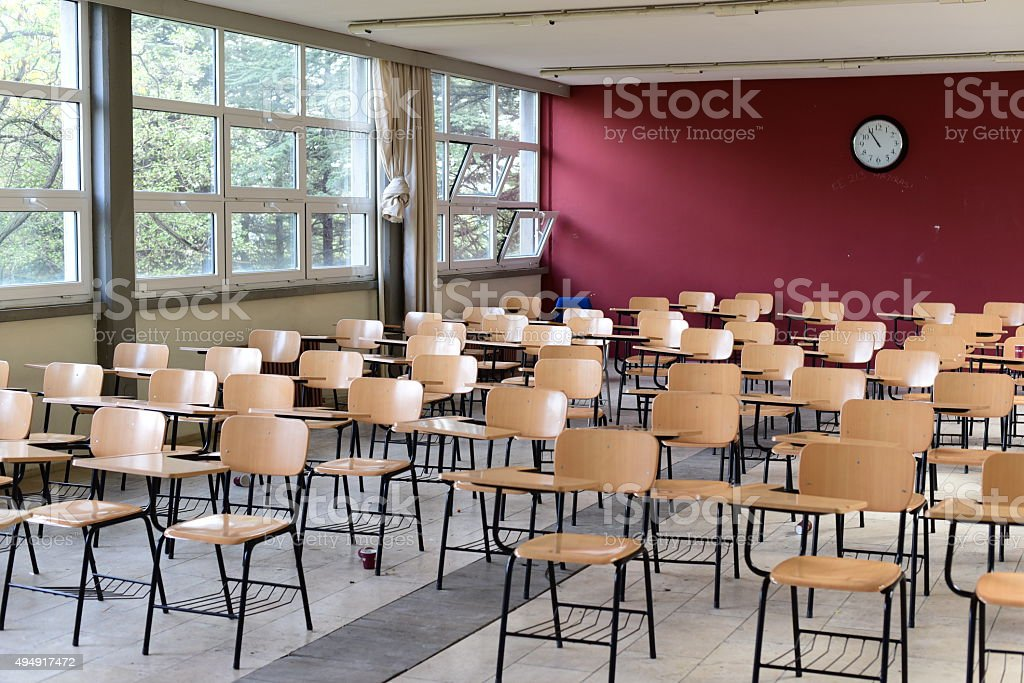 Classroom and empty chairs stock photo