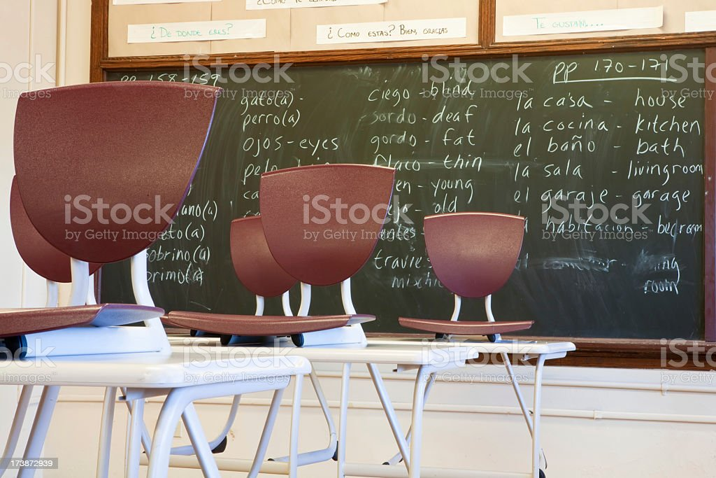 Classroom and empty seats for spanish class royalty-free stock photo