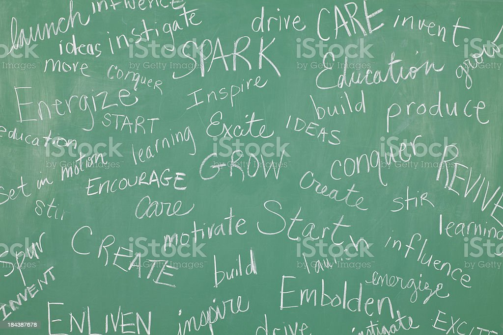 Classroom Chalkboard with motivational words all over it royalty-free stock photo