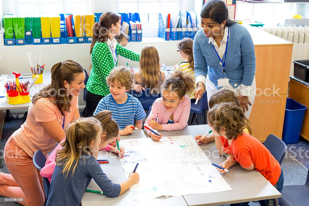 Classroom of Young Artists stock photo