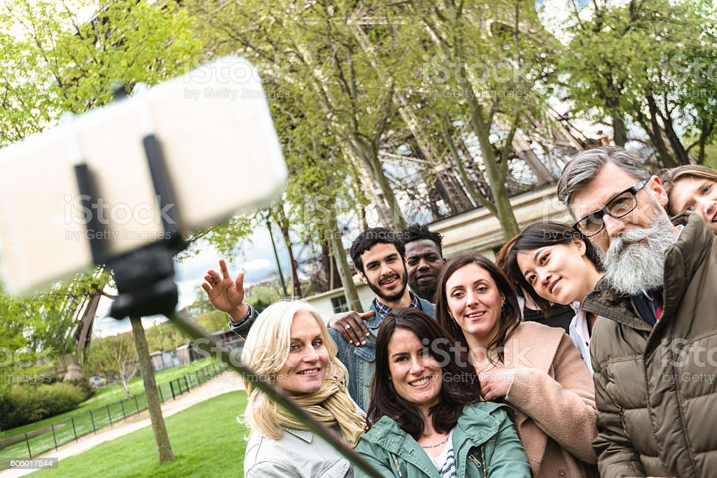 classroom on the park with the teachers take a selfie stock photo