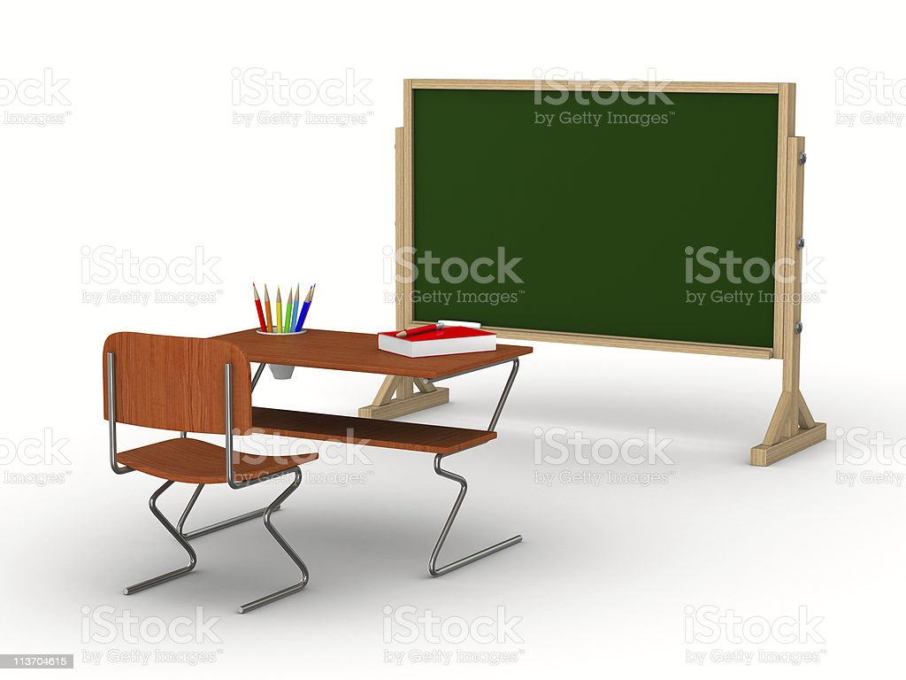 Classroom on white background. Isolated 3D image royalty-free stock photo