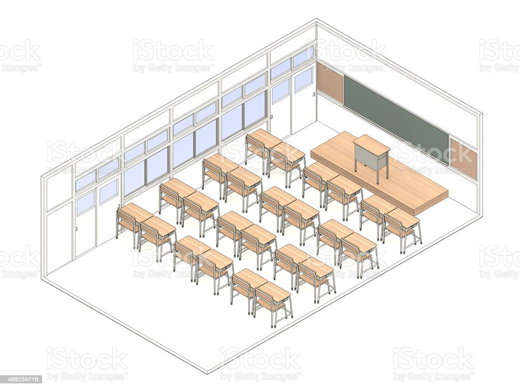 Classroom vector art illustration