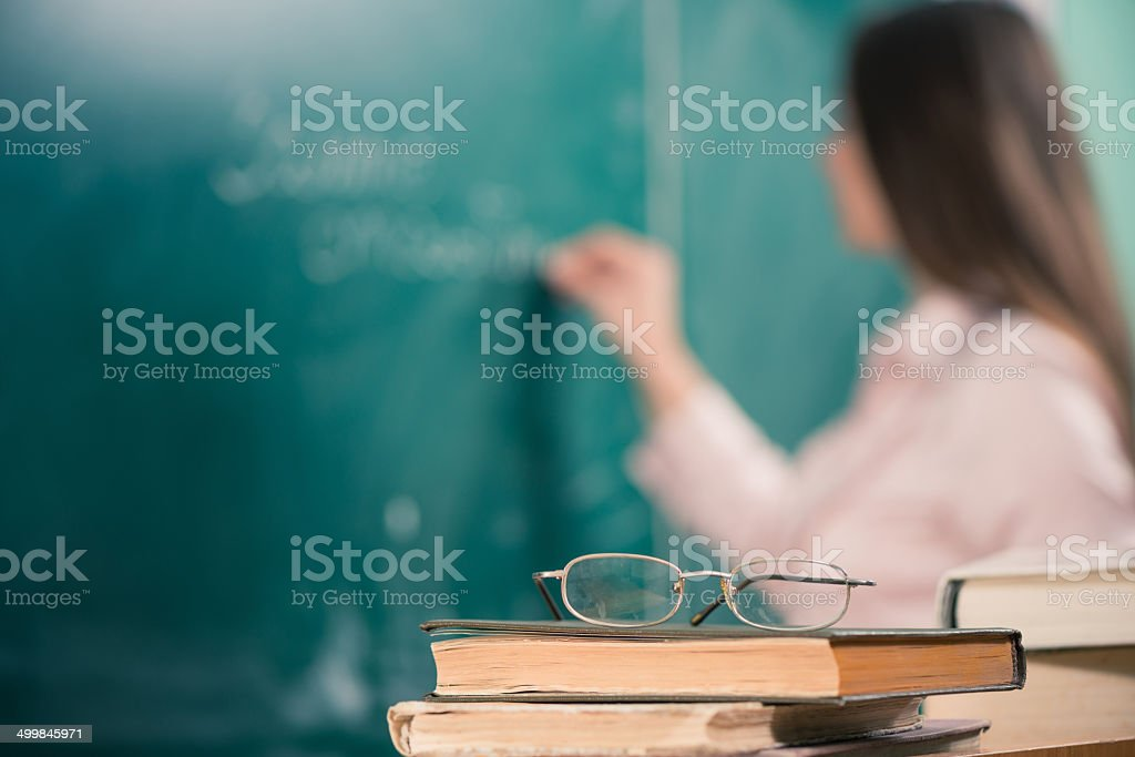 classroom table view stock photo