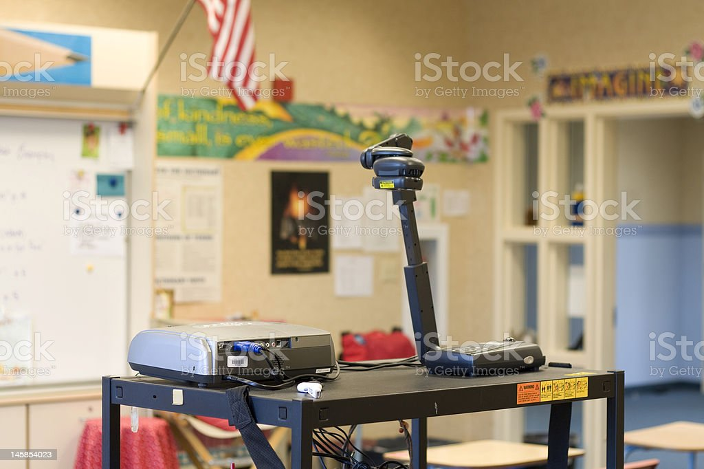 Classroom with a Projector and Overhead  Device royalty-free stock photo