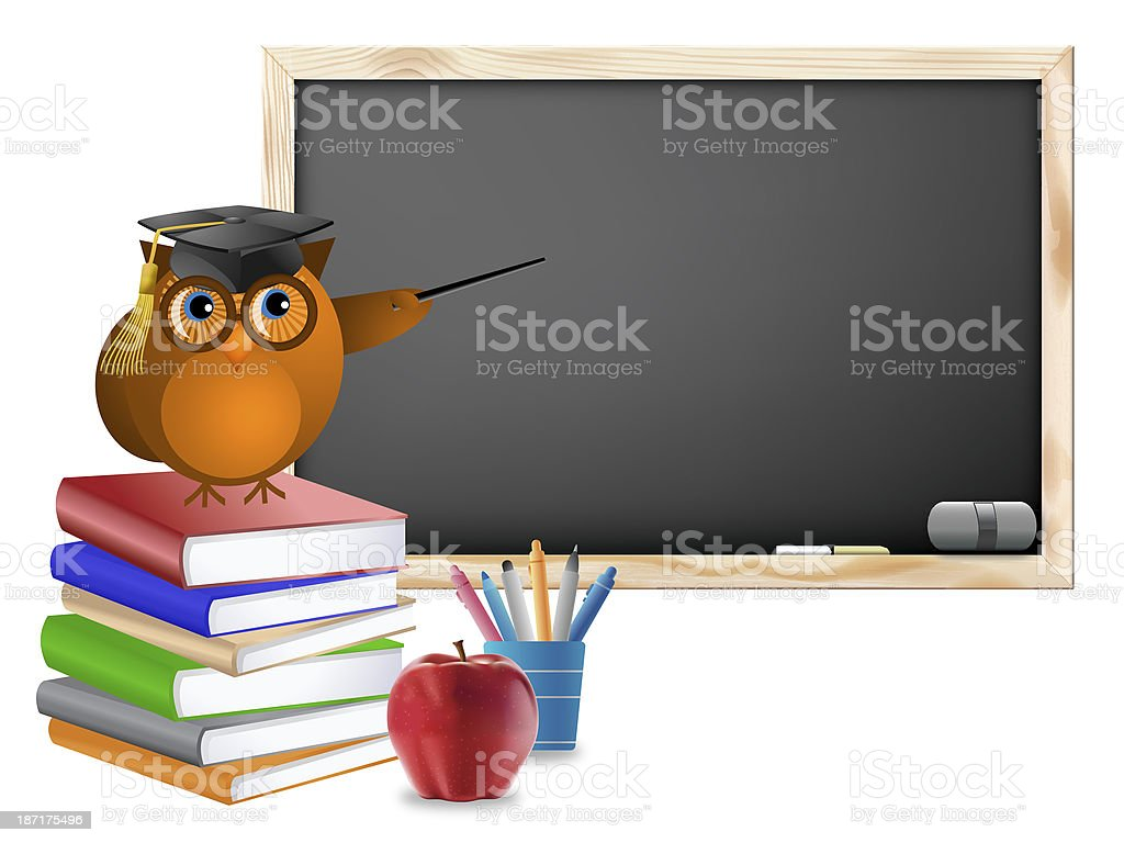 Classroom with Chalkboard Books Pens and Apple stock photo